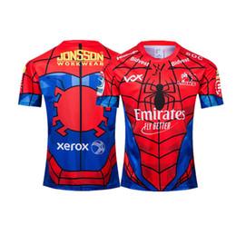 Spinnenmann polyesterhemd online-2019 NEUSEELAND Super RUGBY Löwen SPIDER-MAN MARVEL RUGBY JERSEY Größe S-XXXL Rugby League Trikot Top Qualität versandkostenfrei