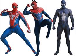 spandex zentai superman Rebajas Traje de Spider-Man 3D Película Original Traje de Superhéroe SuperMan Fullbody Zentai Traje Capucha Separado