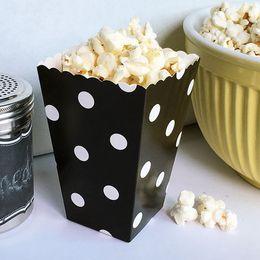 Sacs point noir en Ligne-Livraison Gratuite 12 pcs Noir Polka Dot Popcorn Boîtes Sacs Enfants Partie Traiter Boîtes De Mariage D'anniversaire Décorations