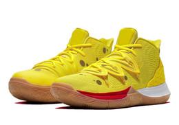 Bambini di scatola calda online-Bambini Kyrie V SpongeBobs GS scarpe vendite calde con scatola Irving 5 ragazzi uomini donne scarpe da basket negozio Spedizione gratuita taglia 36-46