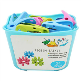 Lavanderia clip on-line-24-Pack Pegs na cesta de roupa de roupa de plástico lavável à prova de vento Clothespin clipes de artesanato