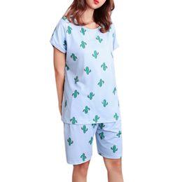 dibujos animados pijama Rebajas Pijama mujeres lindas chicas dulces de verano de manga corta ropa de dormir de dibujos animados más tamaño pijamas sueltos casa ropa