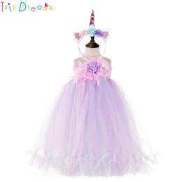 Vestido del desfile de plumas rosa chicas online-Lavanda rosa pluma niña de las flores vestido de boda Toddler Kids Unicorn Pageant fiesta de cumpleaños Tutu vestidos de niña ropa de vestir