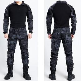 ejército uniforme Rebajas Táctico Bdu Uniforme Ropa Ejército Táctico Camisa Chaqueta Pantalones Con cinturón Camuflaje Caza Ropa Kryptek Negro