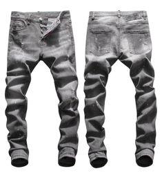Jeans grigio sottile online-Tops Mens Jeans lavato jeans strappati lavato Moda Slim Fit Biker pantaloni a vita bassa pantaloni Hip Hop NJ8042