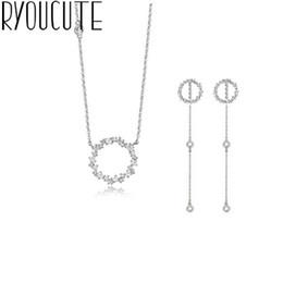collana della sposa del pavone Sconti Moda strass Insiemi dei monili 925 Sterling Silver Circle collane orecchini per i regali di partito delle donne