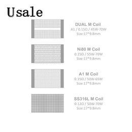 Vandy Vape M V2 RDA Draht 0.15ohm A1 Ni80 Dual-M Spule NI80 0.12ohm SS316L M Spulen für Mesh V2 RDA 100% ursprünglicher von Fabrikanten