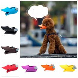 2019 máscara de mascotas Boca de perro Cubierta de silicona Lindo Pato Forma de boca Anti-mordida Máscaras del hocico Mascotas Anti-llamadas Llamado Máscaras Productos para perros Productos para mascotas Accesorios cls198 rebajas máscara de mascotas
