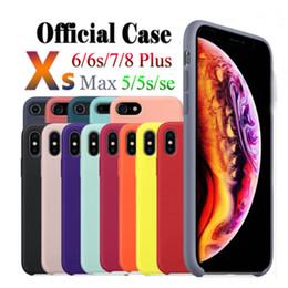 Canada Avoir LOGO Coques en silicone d'origine pour iPhone 6 7 8 Plus couverture de caisse en silicone liquide pour iPhone X XR XS Max avec emballage de détail pas cher Offre