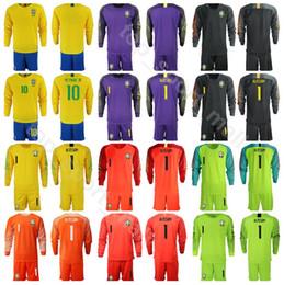 Jérsei de futebol personalizado on-line-Homens Brasil Goleiro de Manga Longa de Futebol 1 ALISSON Jersey Set 23 EDERSON 9 Gabriel Jesus Amarelo Roxo Camisa de Futebol Kits Nome Personalizado