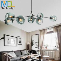 2019 24 zoll rundes glas Moderne Glaskugel LED Decken Kronleuchter Licht 110-240 V Nordic Art Deco Schlafzimmer Droplight Glas Pendent E27 Lampe Wohnzimmer