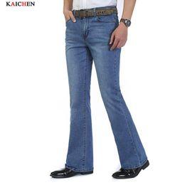 Jeans slim a zampa pantaloni bootcut nuovi uomini di commercio all ingrosso di alta qualità della luce elastico Mens blu marchio denim pantaloni