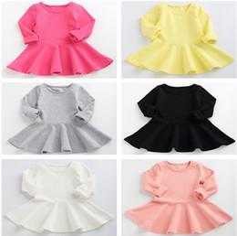 vestido saia flounce Desconto Roupas de bebê Crianças Roupas 2019 Outono Meninas Da Criança Vestidos de Algodão Flounce Saia de Manga Longa Simples Saias de Expansão 7 Cores Meninas roupas