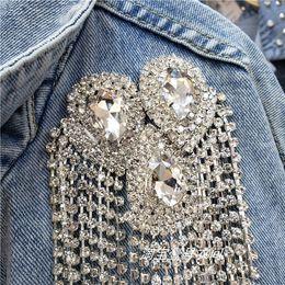 Fashion autunno e rivestimento dei jeans delle donne Blue Light Do Vecchio Lavato strass frangia corta denim cappotto Studenti Giacche trasporto