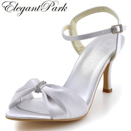 ivory satin wedding sandals Promo Codes - Fashion summer sandals Woman High Heel Shoes EP2103 Open Toe Rhinestone Ankle Strap Stiletto Heel Satin Wedding Sandals