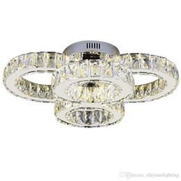 iluminação legal para sala de crianças Desconto Moderno Rodada de Cristal Luzes de Teto CONDUZIU 4 Círculo Anéis de Cristais de Superfície Montado Lâmpada de Teto Interior Luminárias para sala de estar quarto