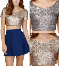gold glitter shorts Coupons - 2019 Girls Sexy Glittering Eye-Catching Sequins Exposed Back Umbilical Short Jacket Women Multi-Color Homecoming T-shirt Backless Jacket