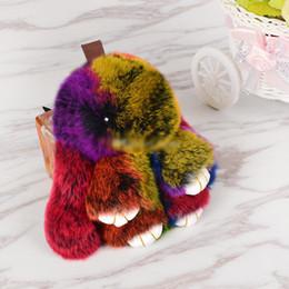 Меховые рюкзаки онлайн-2019 новый милый кролик плюшевый кулон ленивый мех кролика милый кролик ювелирные изделия плюшевые игрушки брелок рюкзак украшения игрушки оптом