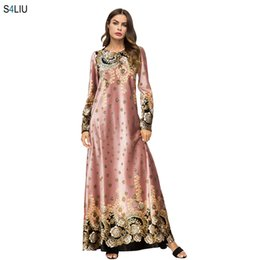 Kimono de terciopelo online-Mujeres Elegantes de Terciopelo Maxi Vestido Floral Geométrico Vestidos Impresos Vestidos Vintage Musulmán Kimono Casual Ramadán Ropa Islámica
