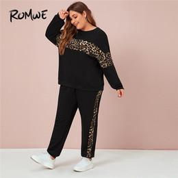 2020 fatos de treino de leopardo preto Romwe Sporty Plus Size Painel leopardo da camisola e Corredores 2 Piece Set Mulheres Queda Casual Inverno Preto Treino Sportswear fatos de treino de leopardo preto barato