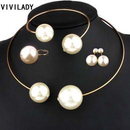 mode mode ohrringe Rabatt VIVILADY Modeschmuck Sets Riesige Nachahmung Perle Strass Halskette Armreif Ohrringe Ringe Aussage Frauen Vogue Hochzeitsgeschenke