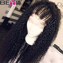 long light brown curly Promo Codes - 360 Lace Frontal Wig Pre Plucked With Baby Hair Malaysian Kinky Curly Lace Front Human Hair Wigs For Women Remy 150 Density Beyo