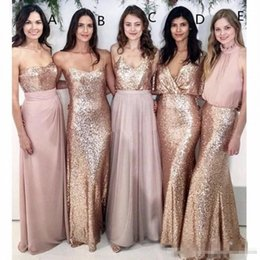 mutterschaft kleid türkis Rabatt Lange Rose Gold Pailletten Brautjungfer Kleider Multi Styles 2019 Custom Made Plus Size Mermaid Hochzeitsgast Kleid Trauzeugin Kleid