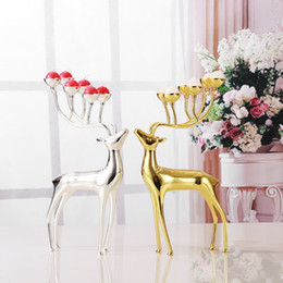 Portacandele di cervo di lusso in acciaio inox Portacandele candeliere Candelabri di nozze Decorazione Regalo di Natale gratuito da