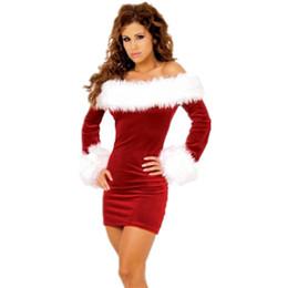 2019 abiti sexy della signora di natale Sexy Ladies Cosplay di Natale del velluto signorina attrezzatura del Babbo Natale Top senza spalline Mini abito rosso Xmas Costume Disfraz Halloween sconti abiti sexy della signora di natale
