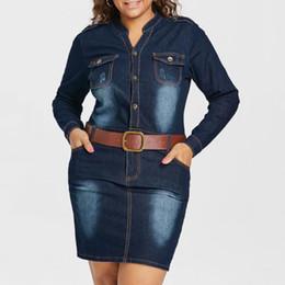 denim vestido mais tamanho colarinho Desconto Wipalo Plus Size 5xl Cabido Denim Jean Vestido Com Cinto Mulheres Bainha Gola Mangas Compridas Vestidos Vestidos Causal Vestido Y190425