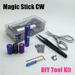 Argentina La nueva herramienta ecig Magic Stick CW Kit de enrollado 6 Tamaño en 1 Bobina Jig Coiler Heating Wire Wick Tool Para DIY RDA Atomizador RBA mod e cig DHL Gratis Suministro