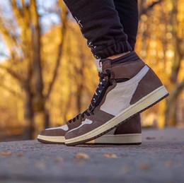 vendas diárias Desconto 2019 New Top Quality Mens tênis de basquete Travis x CD4487-100 Mens Sneakers Cactus Jack Alta OG TS SP Venda Com caixa de sapatos de couro Top