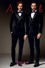 2019 calças de veludo para homens preto Inverno preto de veludo formal homens ternos dois estilos noivo padrinhos smoking pico lapela casamento manhã ternos (paletó + calça + colete + arco) calças de veludo para homens preto barato