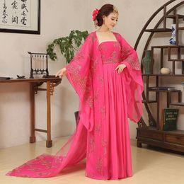 Elegentes rotes kleid online-Sommer-Frau Ancient China hanfu Kleid Wu Mei Niang Legend Rose Red Kostüm Wu Zetian Tanz Kleidung Chinese Elegent Fairy Dress