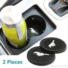 tazza di toyota Sconti 2 pezzi 2,75 pollici per auto Accessori Interni Anti Slip Slot Coppa Mats per tutti i modelli Mustang