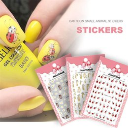 2020 padrões bonitos do prego 1 folha adesiva Nail Art 3D Sticker Super bonito Hedgehog Giraffe Coccinella Padrão decalques para Nail Art Decoração Manicure desconto padrões bonitos do prego
