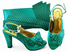 wedges bag set Promo Codes - Fashionable teal women pumps match handbag set with rhinestone african shoes and bag for dress MM1084,heel 10CM