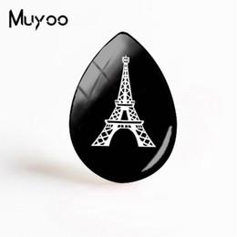 2019 Nueva Torre Eiffel Arte París Joyería Negro Blanco Silueta Torre Lágrima Drop Glass Dome Cabochon Regalos Mujeres desde fabricantes