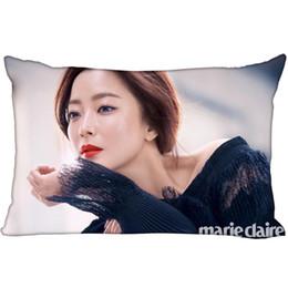 Almohada de corea online-Hot Korea-Pop Custom Kim Hee Seon Satin Funda de almohada 35x45cm (un lado) Impreso Zipper Seda Funda de almohada Logotipo personalizado regalo Funda de almohada