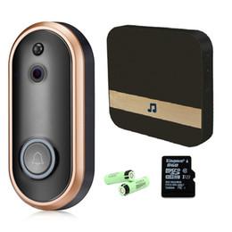 Timbre de la puerta de intercomunicación visual online-Video de la puerta Teléfono WiFi Inteligente Seguridad inalámbrica DoorBell Inteligente 1080P Intercomunicación visual Grabación Monitor remoto del hogar Visión nocturna batería de la puerta