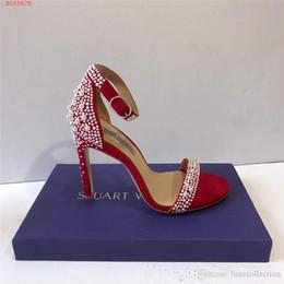Инкрустация обуви онлайн-2019 последние туфли Inlay Pearl женские сандалии, босоножки на высоком каблуке со шнуровкой, высота каблука 10 см