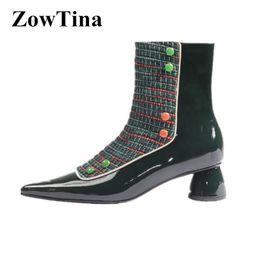 c0a04210d61 2019 nouveau design femmes bottines bout pointu talons carrés bottes  courtes couleur mélangée vert dames de mode bottes chaussures