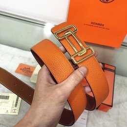 Contador de laranja on-line-Orange double-sided franchise counter synchronization versatile fashion new classic never style men's belt authentic official box