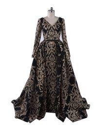Canada 2019 Bling robe de bal gaine robes de soirée col en V avec jupe oversize détachable Split arabe manches longues robe de bal Dubaï robes de soirée Offre