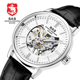 reloj esqueleto banda marrón Rebajas Esqueleto automáticos relojes de pulsera mecánicos para hombres de cuerda corta impermeable, correa de cuero marrón negro, reloj deportivo para hombres