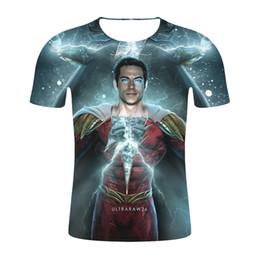 Meilleurs films 3d en Ligne-Shazam Mens 3D Tshirt Mode Eté Hot Film Ultraraw26 Cool Cosplay Tees À Manches Courtes Adolescent Vêtements Tops