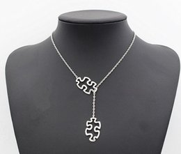 c21d1ad8d Fashion Casual Tibetan Silver Autism Jewelry Awareness Jigsaw Double Puzzle  Piece Pendant Adjustable Cross Lariat Necklace Gifts