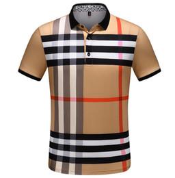newcastle brown Promotion 2019 Créateur De Mode Polo De Haute Qualité Designer Polo Shirt À Rayures Imprimé Revers De Luxe Coton Mince Anti-Shrink T Shirt Plus La Taille M-3XL