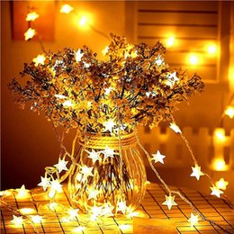 luz conduzida a pilhas da estrela Desconto LED em forma de estrela LED de fadas Luzes Cordas 20/40 Leds bateria operado luzes brilhantes festa de Natal da decoração do feriado de casamento luzes de fadas