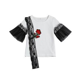 2019 o bordado floral caçoa camisas Crianças Meninas Roupas De Verão Floral Bordado Preto Laço T-Shirt Branco Tops Tee o bordado floral caçoa camisas barato